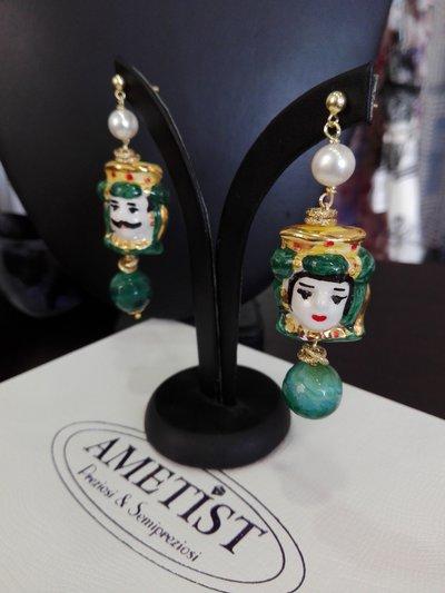 Orecchini Ceramica Testa di Moro Verde