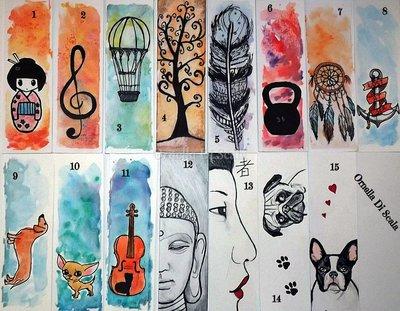 Segnalibri disegnati e dipinti a mano