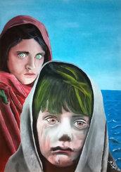 La Donna Velata con Bambino Orient 50x70 dipinto a mano Acrilico