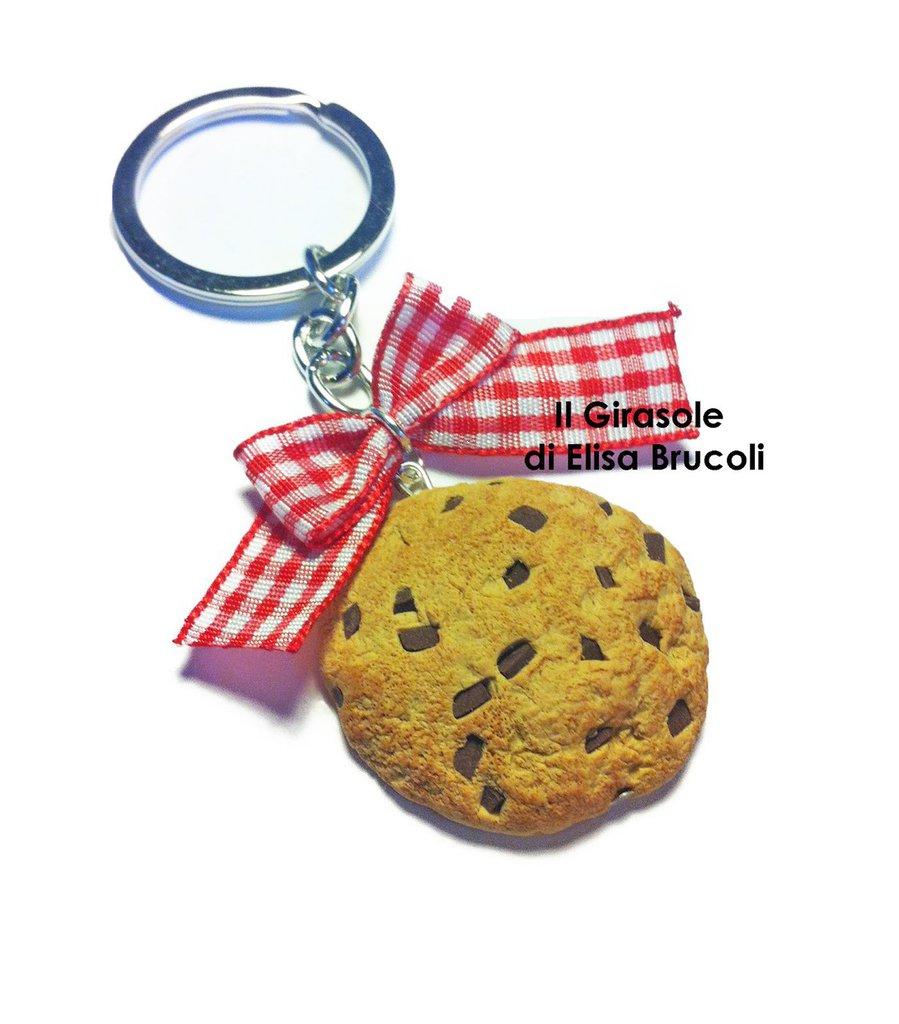 Portachiavi cookies: portachiavi con biscotto gocce di cioccolato in pasta polimerica fimo