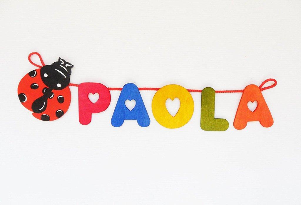 Nome in legno con coccinella portafortuna (5 lettere a scelta)