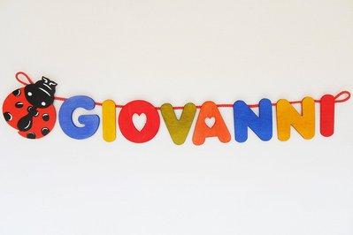 Nome in legno con coccinella portafortuna (8 lettere a scelta)