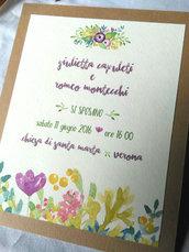 """Partecipazione stile acquerello """"Giulietta e Romeo"""""""