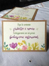 """Invito per matrimonio in stile acquerello """"Giulietta e Romeo"""""""