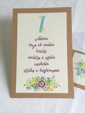 """Tableau de mariage e segnatavolo stile acquerello """"Giulietta e Romeo"""""""
