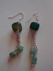 orecchini verdi pendenti