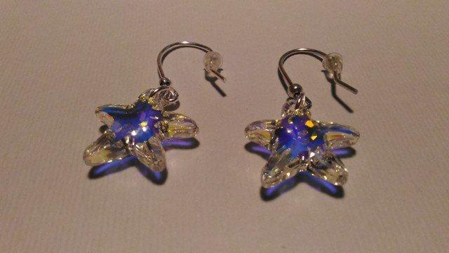 Orecchini con ami in argento e swarovski stelle marine crystal ab