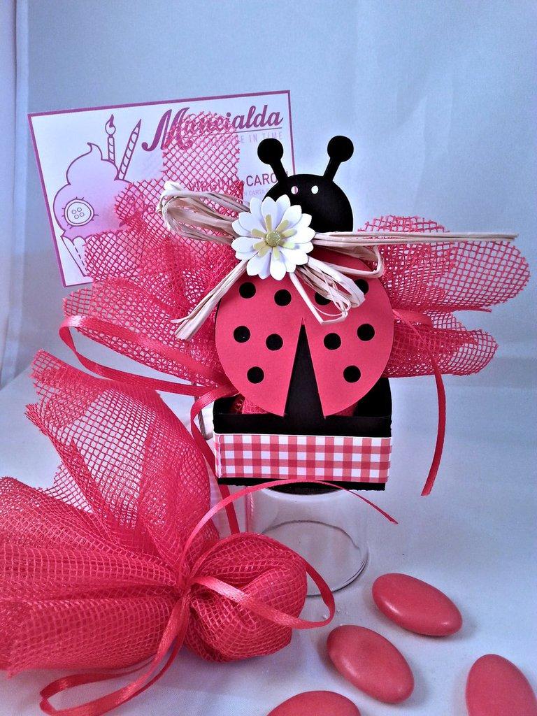 Set 10 bomboniere Laurea, scatolina porta confetti, coccinella portafortuna