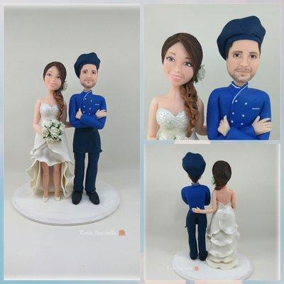 Cake topper sposi in divisa da chef