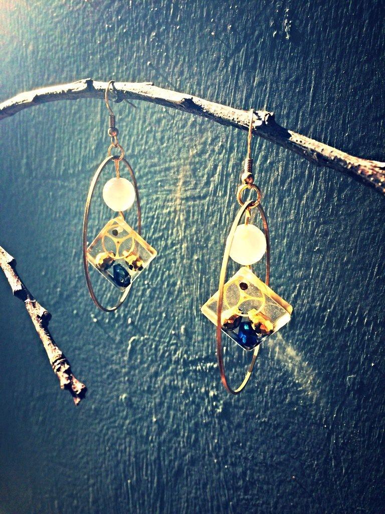 Orecchini cerchio dorato  con pendente in resina
