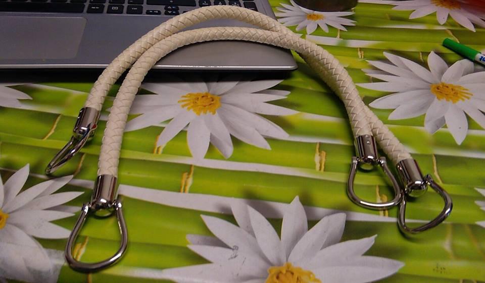 coppia di manci intreccio cm 55 con anello finale colore panna
