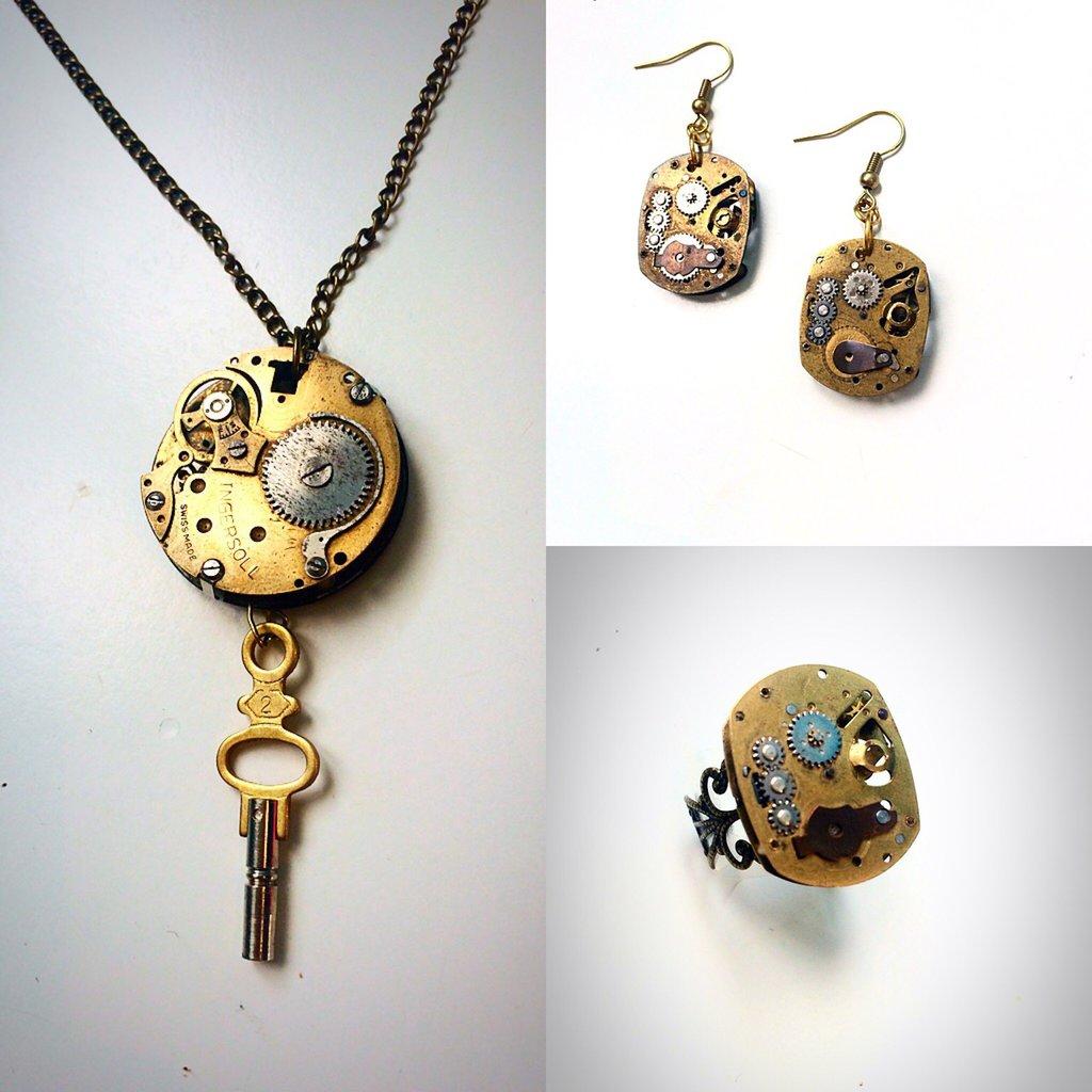 Parure steampunk collana orecchini ed anello
