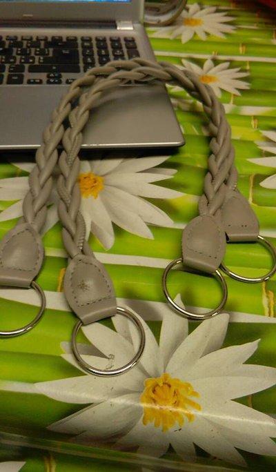 coppia di manci intreccio grigio chiaro cm55 con anello finale