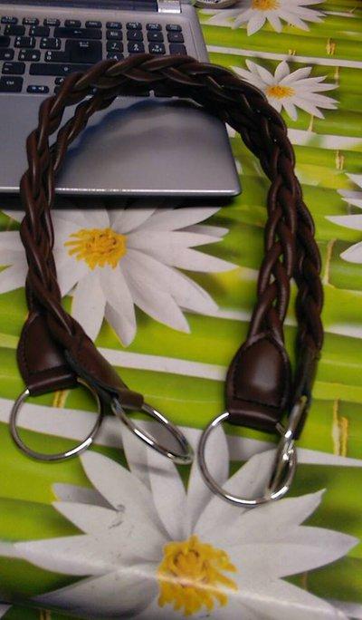 coppia di manci intreccio marrone scuro cm55 con anello finale
