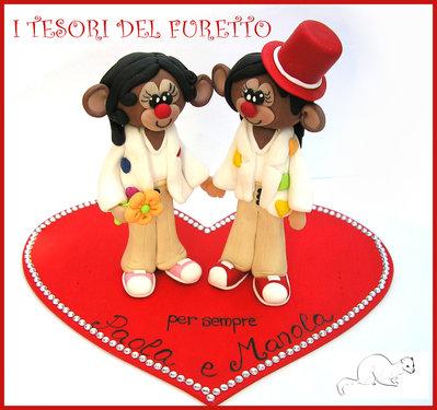 """Cake topper Matrimonio """" scimmiette """" personalizzato personalizzabile Fimo cernit Kawaii idea regalo sposi"""