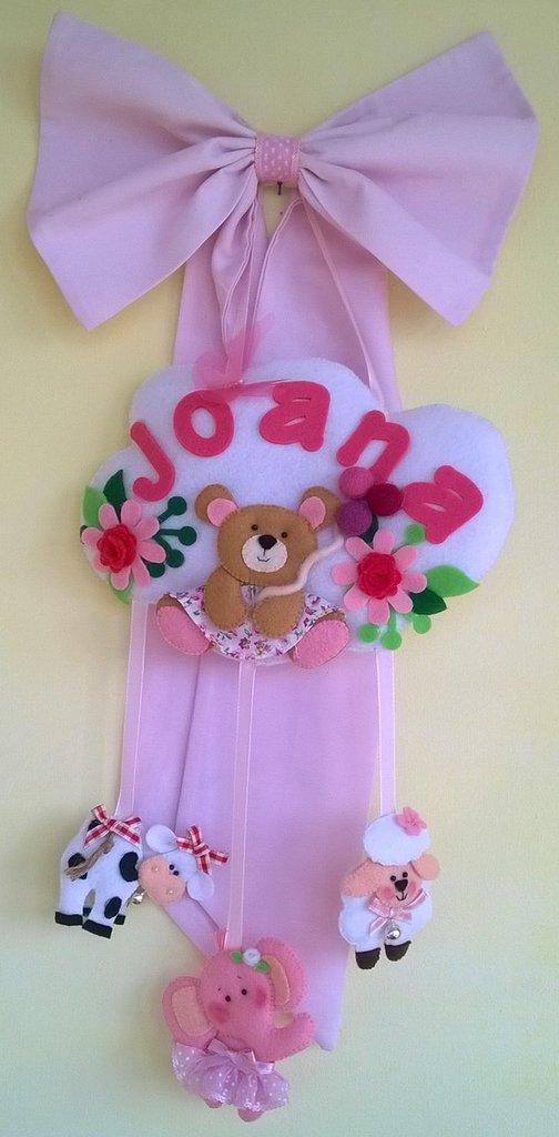 fiocco nascita rosa con animaletti realizzato a mano