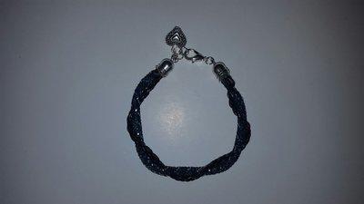 braccialetto blu e nero swarovski e cordino in simil pelle