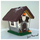 casetta di Halloween, calza, idea regalo per bimbi, biscotti decorati