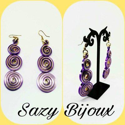 PURPLES: Orecchini lunghi a Spirale in Alluminio Piatto Viola e Oro
