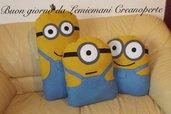 Tris Lotto Cuscini Minions Minion realizzati a mano biscotto idea regalo San Valentino