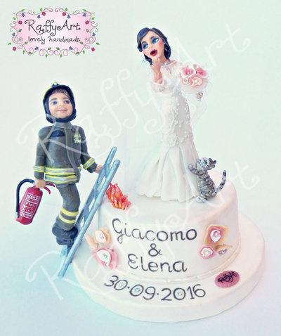 """Cake topper matrimonio """"Cuori in fiamme"""" (personalizzabile)"""