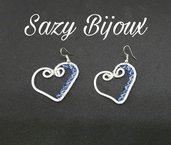 CRYSTAL HEART: Orecchini a cuore con cristalli blu e turchesi-Swarovski Sapphire