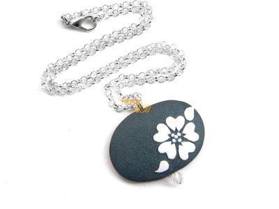 Collanina girocollo ciondolo con fiore in fimo idea regalo ragazza donna