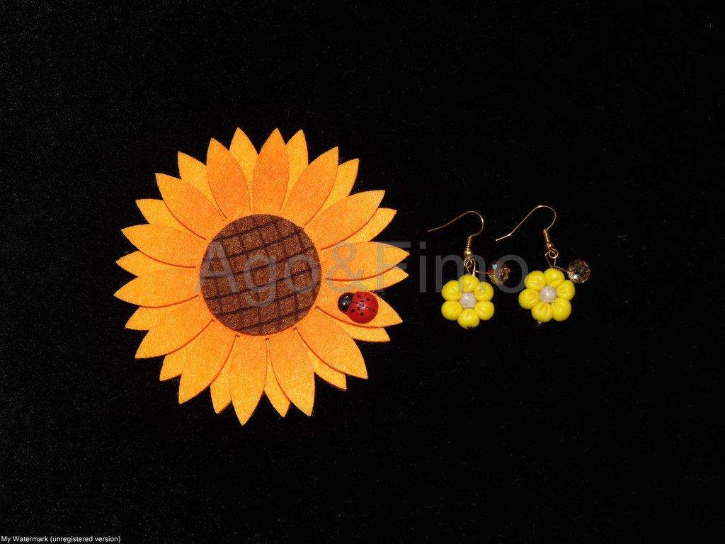 Orecchini pendenti fiore giallo fimo
