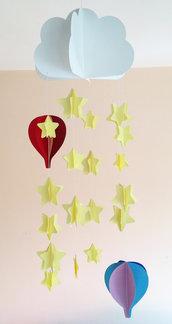 Giostrina per culla, con stelle e mongolfiere colorate, 3D