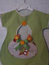 Portamollette in stoffa vestitino con fiori e merletto verde