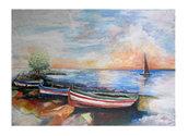 """Acrilico su tela 60x80 """"Barche al tramonto"""""""