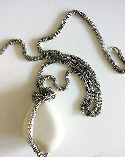 collana coda di topo argento e pietrone bianco
