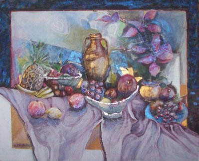 """Quadro acrilico su tavola """"Natura morta - Frutta esotica"""""""