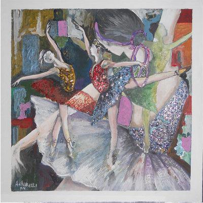 """Quadro acrilico su tavola 54x54 """"Fantastiche ballerine in trasparenza"""""""