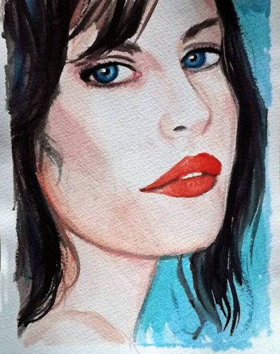 Acquerello ritratto ragazza donna dipinto a mano