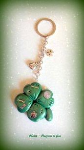 Portachiavi in fimo handmade quadrifoglio coccinella portafortuna idea regalo donna idea regalo natale
