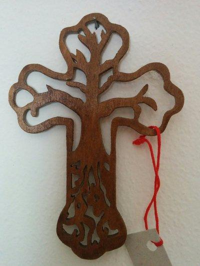 """Croce """"albero della vita"""" in legno (piccola), tecnica del traforo"""