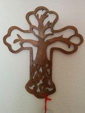 """Croce """"albero della vita"""" in legno (grande), tecnica del traforo"""