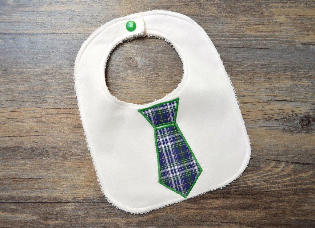 Bavaglino con cravatta a quadri verdi
