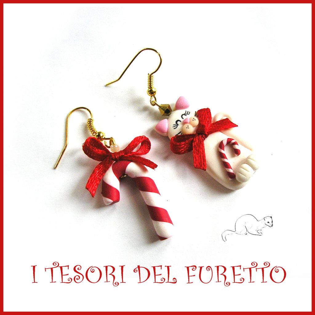 "Orecchini Natale "" gattini e bastoncino "" Fimo cernit Kawaii idea regalo"
