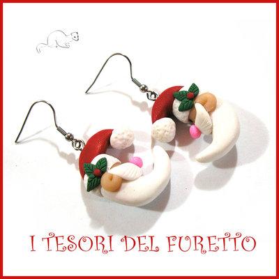"Orecchini Natale "" Babbo Natale luna "" Fimo cernit Kawaii idea regalo"