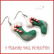 """Orecchini Natale """" calza verde befana """" cernit Kawaii idea regalo"""