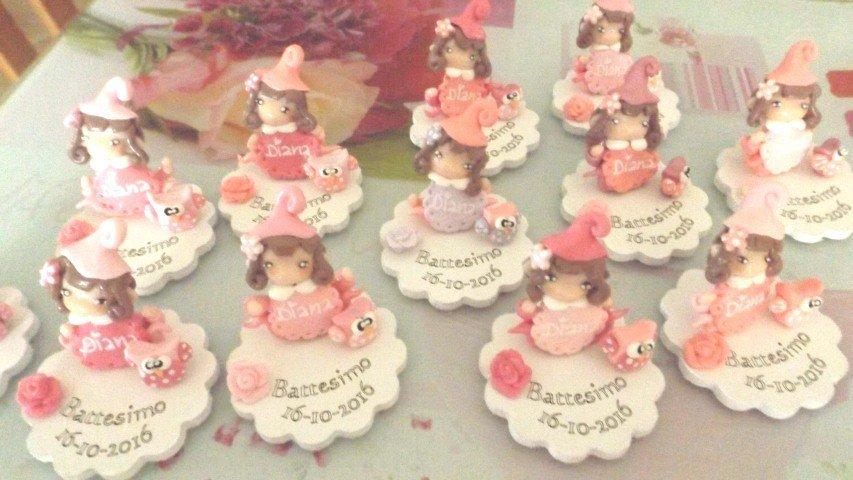 INSERZIONE RISERVATA PER MONICA - top cake battesimo piu 25 bomboniere folletto - fimo nascita