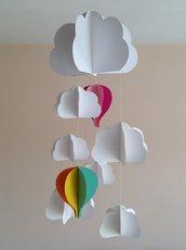 Giostrina per culla con nuvole e mongolfiere colorate, 3D