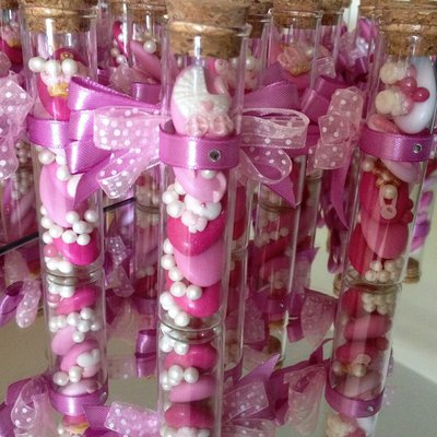 provetta di vetro confetti decorati