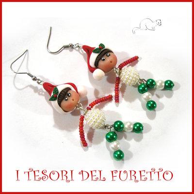 """Orecchini Natale """" elfo Babbo Natale """" bambolina fimo cernit Kawaii idea regalo earring Christmas clay"""