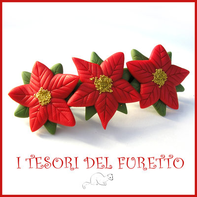 """Fermaglio Natale 2016 """"stella di Natale rossa"""" idea regalo bambina Kawaii bijoux handmade"""