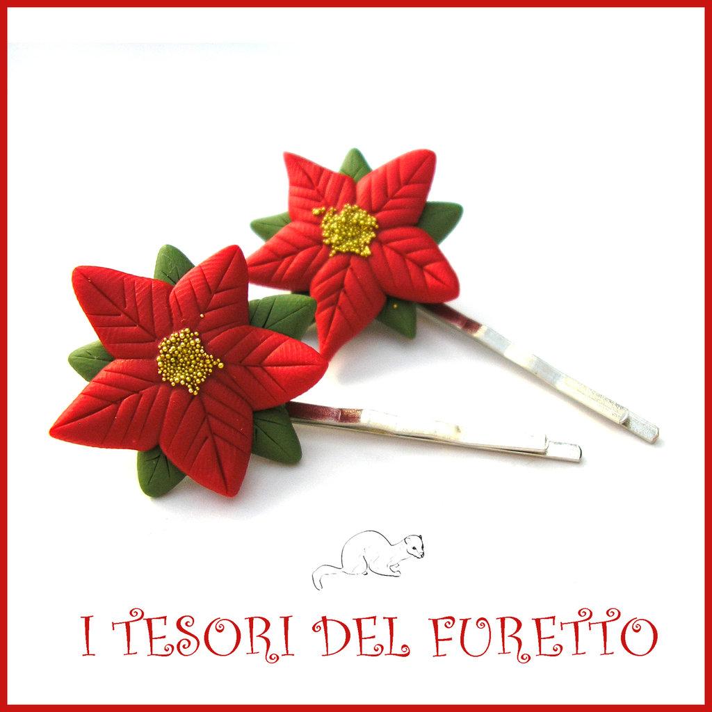 "Pinzette mollette  Natale 2016 ""stella di Natale rossa"" idea regalo bambina Kawaii bijoux handmade"