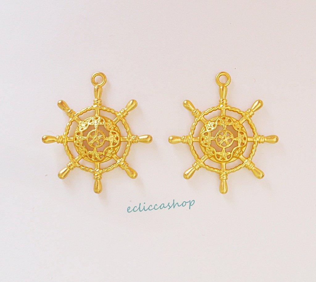 Componenti per orecchini ciondoli a forma di Timone in ottone 1coppia