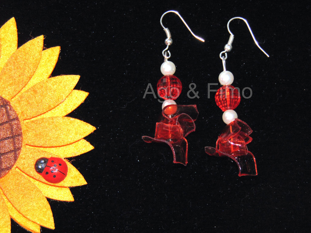 orecchini in pet rosso semitrasparente
